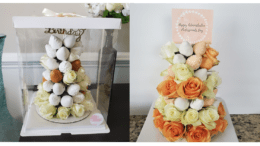 photos of elaborately decorated baked goods, one with intricated icing roses